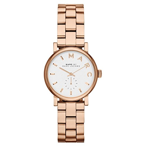Marc By Marc Jacobs Women's Baker Mini MBM3248 Rose-Gold Stainless-Steel Swiss Quartz Watch with White Dial
