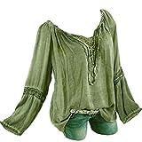 LANSKIRT Damen Freizeit Feder Print V-Ausschnitt Bluse Leinen Bluse Locker Hemd Blusenshirt Locker Taschen Shirt Bluse Plus Größe
