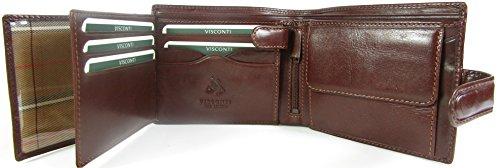New Visconti Monza Rom glasiert Italienisches Leder Herren Geldbörse Geld Tasche Stil Rom MZ5 braun braun