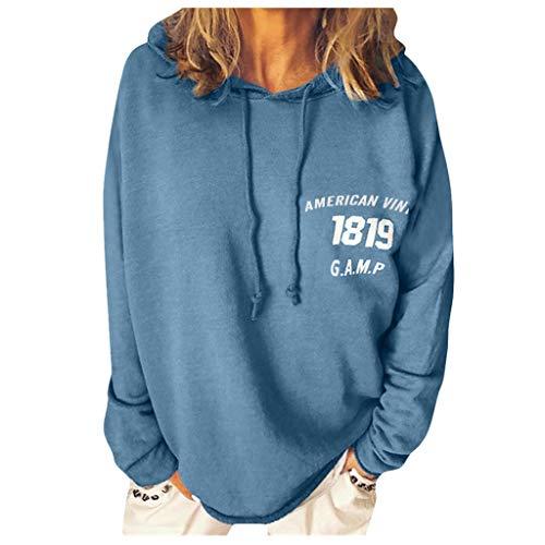 Frauen Herbst Casual Sweatshirt Soild Brief Drucken Hoodie O-Ausschnitt Lose Langarm Pullover Bequem Leichte Drawstring Kapuzenpullover Freizeit Bluse