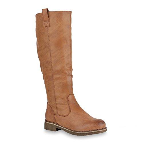 Damen Reiterstiefel Leicht Gefütterte Stiefel Leder-Optik Schuhe 150625 Hellbraun 38 Flandell
