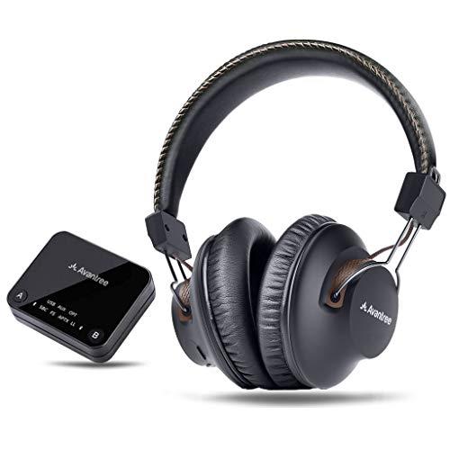 Avantree HT4189 Kabellose Funkkopfhörer Kopfhörer für TV Fernseher mit Bluetooth Transmitter (Optisch, RCA, 3,5mm AUX, PC USB Audio), Plug & Play, No Delay, 30m HOHE REICHWEITE, 40 Std. Akku Usb Wifi Transmitter