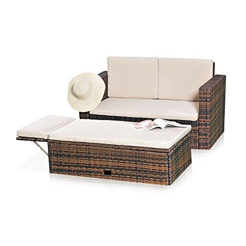Melko Lounge Sofa-Garnitur Gartenset, Poly Rattan, mit klappbarer Fußbank, Schwarz, inklusive Kissen, mehrteilig, Braun -