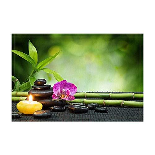 vrupi Alfombras baño asiáticas japonesas Piedra Zen Flor Loto una Vela bambú Verde para meditación Alfombra Ducha SPA 15.7X23.6in Felpudo para decoración para hogar Alfombra baño