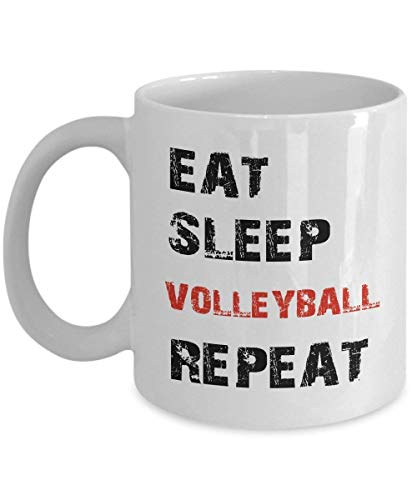 Unique Coffee Mug 11 OZ - Eat Sleep Volleyball Repeat - Volleyball Gifts For Boys, Coach, Girls, Guys, Men, Mom, Players, Teen Girls, Teen Girls Cheap, Teen Girls Slippers, Women - Ceramic Tea (Volleyball Mom Schmuck)