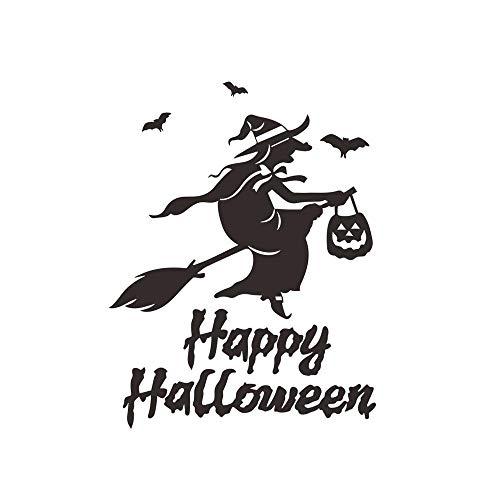Halloween Fliegende Hexen Wandaufkleber Wohnzimmer Wand Fenster Outdoor Decor Hexe Silhouette Vinyl Aufkleber Abnehmbare Kunstwand 56x32 cm (Machen Halloween Fenster Silhouetten)