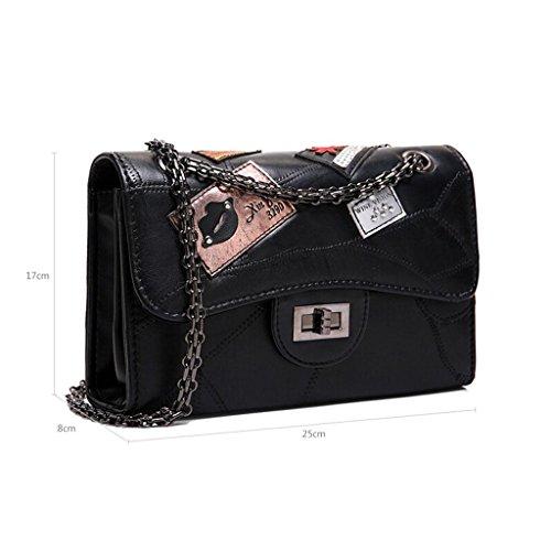 Y&F Damenbeutel Schultertasche Handtasche Schwarze Tasche 17 * 8 * 25 cm Black
