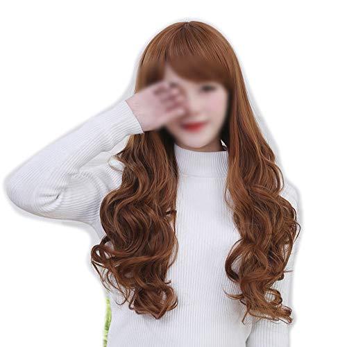 Kervinfendriyun yy4 la parrucca bionda luminosa di ombre delle parrucche ricce sembranti naturali dei capelli con i capelli batte le parrucche sintetiche for le donne (colore : marrone)