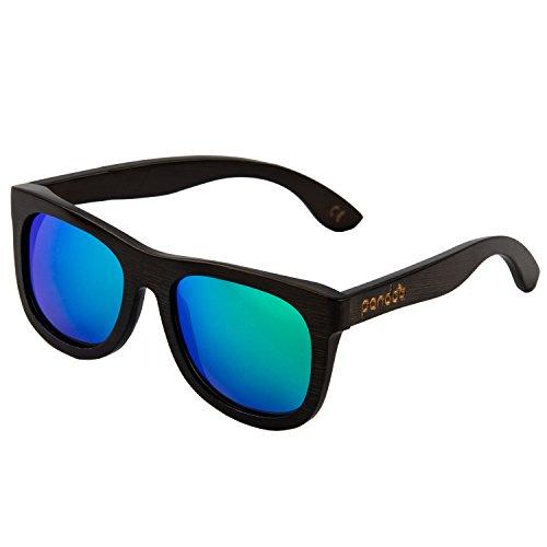pandoo Bambus-Sonnenbrille mit Brillen-Etui, Schraubenzieher und Tasche - polarisiert & UV400 - Verspiegelte Gläser Türkis & dunkler Bambus Rahmen - Holz/Damen/Herren/Unisex/Sport/UV-Schutz/polarized
