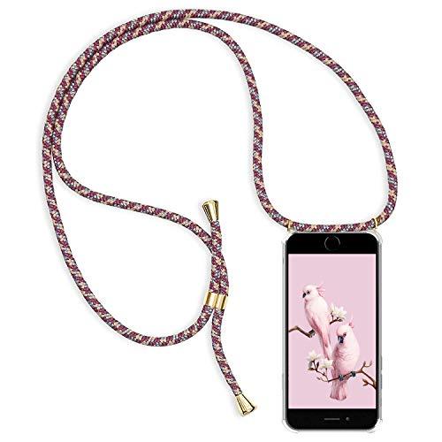 Alsoar Hülle ersatz für iPhone 6S Plus Handyhülle mit Kordel zum Umhängen Transparent Slim Stoßfest Silikon Schutzhülle für iPhone 6 Plus Dünn Vier Eckenschutz Case (Rote Aprikosenasche) - 6 Iphone Ersatz-bildschirm-pink