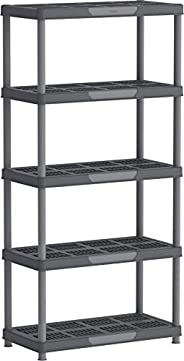 Cosmoplast IFOFSH003CG Plastic Heavy-duty Shelving Rack 5 Tiers Storage Unit, Grey Mix, H 185.0 x W 45.0 x D 9