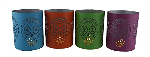 4PC. Day of the Dead Sugar Skull Punched metal Candle Holder set