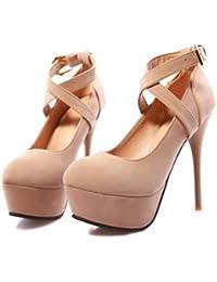 LBDX Zapatos de Tacón Alto Europa y Estados Unidos Thin Heel Round Head Zapatos de Mujer