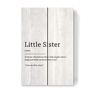 artboxONE Holzbild 30×20 cm Typografie Little Sister – Definition von Künstler Man ON The Milky Way