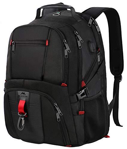 Rucksack Herren,17 Zoll Backpack Schulrucksack Daypack Multifunktion Business Notebook Taschen Wasserdicht Großer mit USB Ladeanschluss für Männer Schüler Jungen Teenager - Schwarz MEHRWEG - Große Computer-rucksack