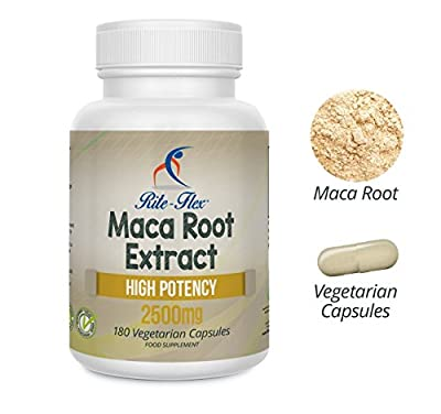Maca Root Extract Capsules 2500mg, 180 High Potency Vegetarian Capsules (6 Month's Supply) by Rite Flex from Rite-Flex