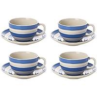 Cornishware azul y blanco rayas juego de 4tazas de desayuno y platillos