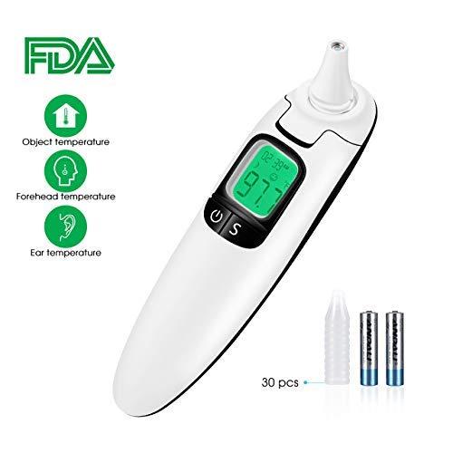 TOPELEK Termómetro Infrarrojo Frente Orejas,CE,FDA,RoHS,Lecturas