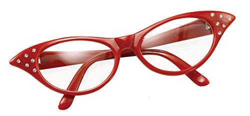 Bristol Novelty BA142R Brille im Stil der 50er, Rot, Damen, Einheitsgröße (Der Stil Im 50er Röcke Jahre)