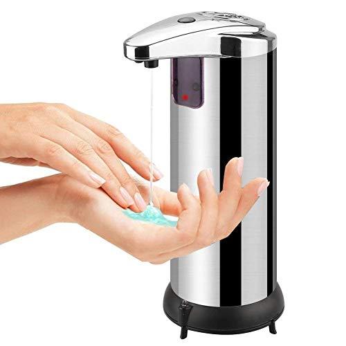 Tatuer Dispensador de Jabón Líquido Loción Champú Automático Acero Inoxidable, Dispensador Electrónico del Jabón de la Batería con el Sensor Infrarrojo Sin Contacto Ideal para Cocina, Cuarto de Baño, Lavabo 250ML