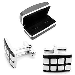 Manschettenknöpfe Manschetten für Hemd Krawatte Anzug Gebürstet Glänzend Etuis Box Cufflinks Herren 18 Modelle Silbern, Modell:Modell M1
