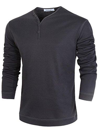 Emiqude Uomo Slim Fit base V collo pulsante solido cotone t-shirt camicia a manica lunga X-Large Grigio scuro