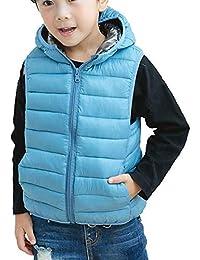 Liangzhu Chaleco Infantil Niño Niñas Chaqueta Sin Manga Vest Chaquetas De Plumón con Capucha Outwear
