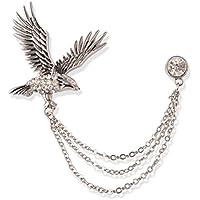 S&E Uomo elegante tono argento Aquila strass spilla catena di