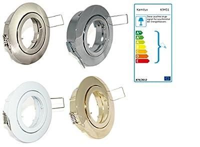7er Set Einbaustrahler Lino + 5Watt GU10 Power LED Spot Farbe:Edelstahl gebürstet Leuchtmittel Warmweiß 5W=50Watt