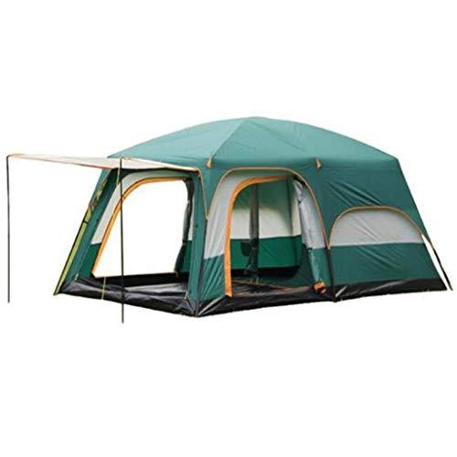TTW 8-Personen-Zelt, zweischichtiges Campingzelt, mit Zwei Räumen Familienzelt im Freien, wasserdicht/gut belüftet/Insektenschutz, Outdoor-Sportzelt Camping Sonnenschutz (grün) -