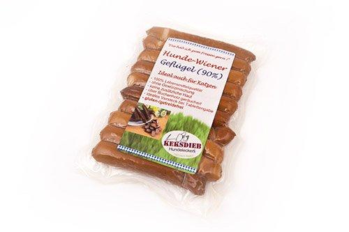 Keksdieb Hunde Wiener Geflügel ohne Gewürze 10 Würstchen Größe 5 x 10 Stück