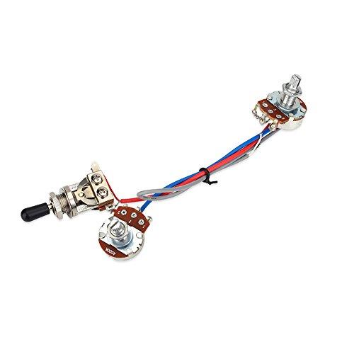 Kit Verkabelung Circuit Gitarre Vorverdrahteter Schalterprogramm Bausatz 1Volumen 1Ton Wippschalter 3Wege 500K für Gitarre LP ELECTRIQUE mit doppeltem Elektronischer Schaltkreis,
