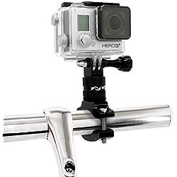 MyGadget Support pour Action Cam Vélo/Moto Fixation Guidon en Aluminium - Rotation 360 degrés pour Caméra GoPro Hero 7/6/5/4/3+/3/2, Xiomi Yi 4K+ Noir