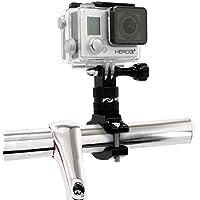 MyGadget Soporte de Cámaras de Acción Bicicleta/Motos - Montaje de Manillar en Aluminio - Rotación 360 Grados para GoPro Hero, Xiomi, Garmin, Sony - Negro