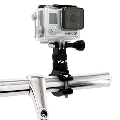 MyGadget Action Cam Fahrradhalterung 360° Metall - Fahrrad Motorrad Rohr Lenkerhalterung Kamera Halterung z.B. GoPro Hero 7 6 5 4, Xiaomi Yi 4K - Schwarz