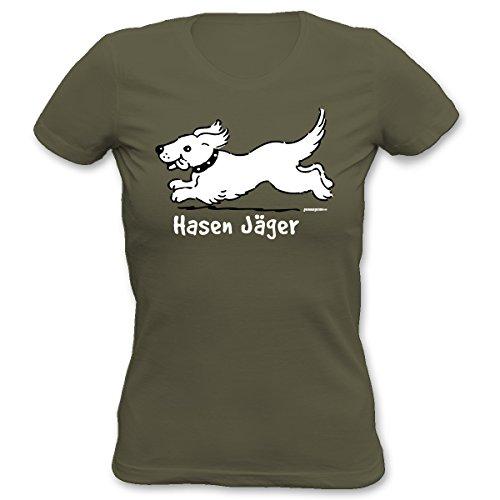 Damen T-Shirt mit Hundemotiv - Hasen Jäger - Exclusiv für Hundefreunde, figurbetont geschnitten Khaki