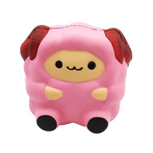 Juguetes compresivos, ❤️ ❤️ ❤️ Sonnena Squishies Kawaii Juguetes Cordero Sonriente de Silicona Animales Squishy Squeeze Toy Slow Rising Decompression Toys Stress Relief Juguete Suave Squeeze Toys (8*9cm, ROSA)