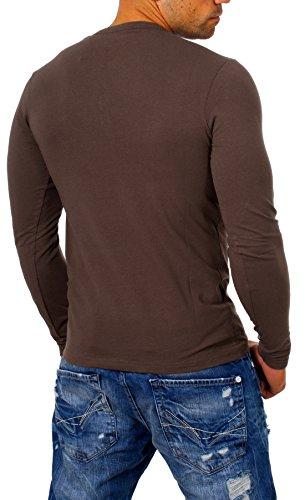 a04b096119da66 Young   Rich Herren Longsleeve Langarm T-Shirt Knopfleiste mit Extra Großen  Metall Knöpfen Slimfit ...