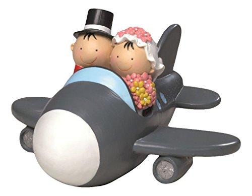 Mopec Y88 - Figura de pastel/ Hucha, novios Pit & Pita, avión, 11 cm