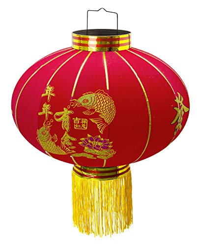 Trango chinesische Laterne Pendel LT500-01 mit 500 mm Ø aus Stoff für Innen & Außen I Rote Laterne I Glück Laterne I Chinese New Year Lantern I Rote Lampion I Hochzeit Laterne I Party Laterne