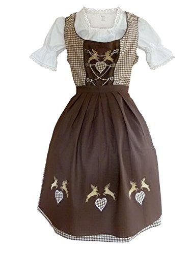 Di18bw Midi Dirndl, 3 teiliges Trachtenkleid in braun weiß kariert, Kleid mit Bluse und Schürze, Gr. 50