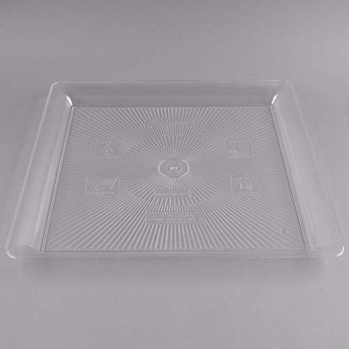 Lot de 2 Plateaux de Service carrés Extra Larges en Plastique Dur/Plateau de Service en Plastique/Plateau Alimentaire en Plastique Transparent - 45 x 45 cm