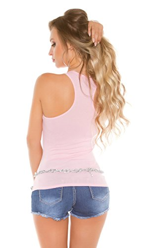 Stylisches Party-Top im Tank-Style mit Hand-Patches Rosa