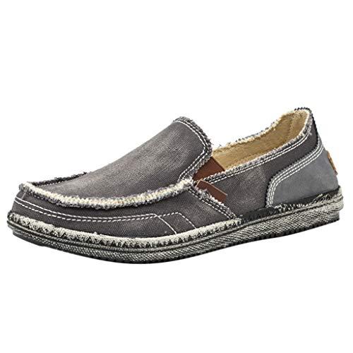 BHYDRY Herren Canvas Breathable Casual Shoes Bequeme leichte rutschfeste Lazy Shoes (39,Grau) -