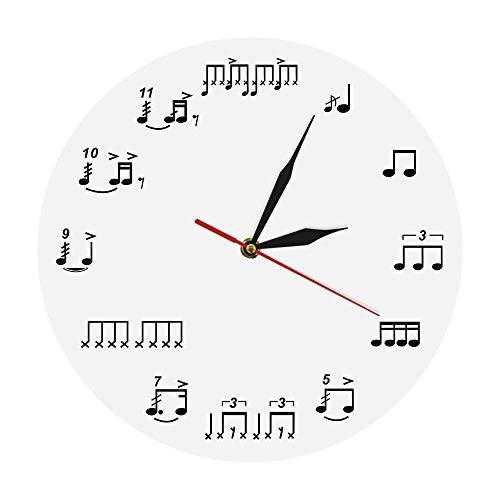 GZGJ 1 Stück Musiknoten Wanduhr Schlafzimmer Dekor Uhr Trommel Notizen Rudimen Hause Dekorative Wandkunst Musiker Musik Liebhaber Handgemachtes Geschenk