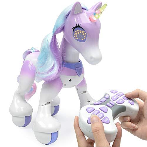 Rclhh Elektronisches Haustier-Pferd,Elektrischer Intelligenter Fernsteuerungs Einhorn Roboter Zum Berühren, Gehen, Jagen Und Spaß-Tätigkeiten,Purple -