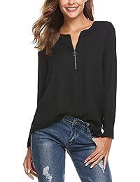 bf8a7718773c10 Finejo Damen Elegant Blusen Tunika Blusenshirt Langarmshirt V Ausschnitt  Oberteile T-Shirt mit Reißverschluss Vorne