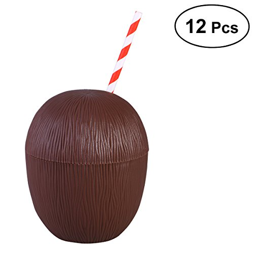 (BESTOYARD 12 Stück Coconut Cups Kunststoff Saft Getränk Tassen Hawaiian Luau Party Favors Lieferungen Dekoration)