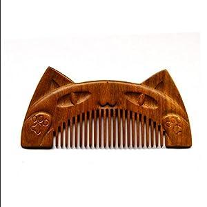 CHUANGHDF Comb ® Gravur Katzen Holzkamm Green Ebenholz Carvingkamm Retro Alten chinesischen Kleidung Haare kämmen