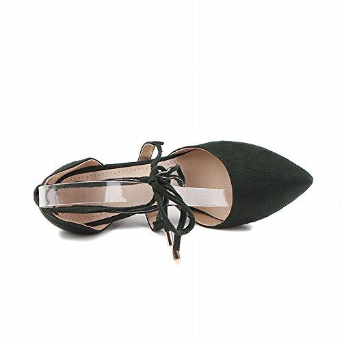 Mee Shoes Damen Stiletto mit Schnürung Nubuck Pumps Dunkelgrün QpFrzdppHo